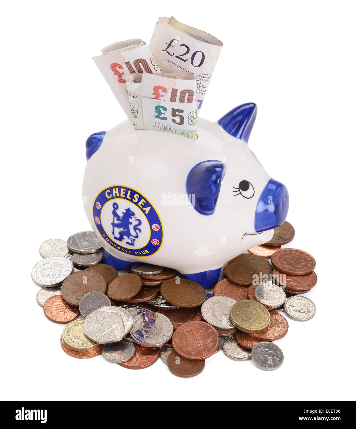 Chelsea Football Club piggy bank - Stock Image