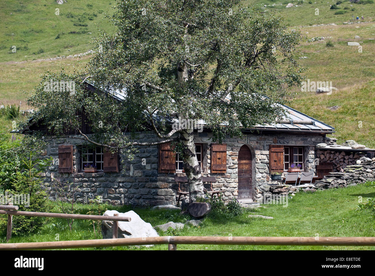 One of the 'Chalets de Miage' French Alps - Stock Image