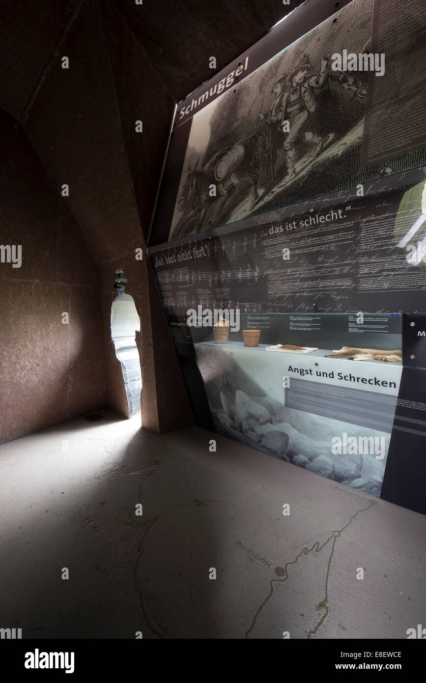 Timmelsjoch Erfahrung exhibition on smuggling tradition, Sölden, Tyrol, Austria - Stock Image