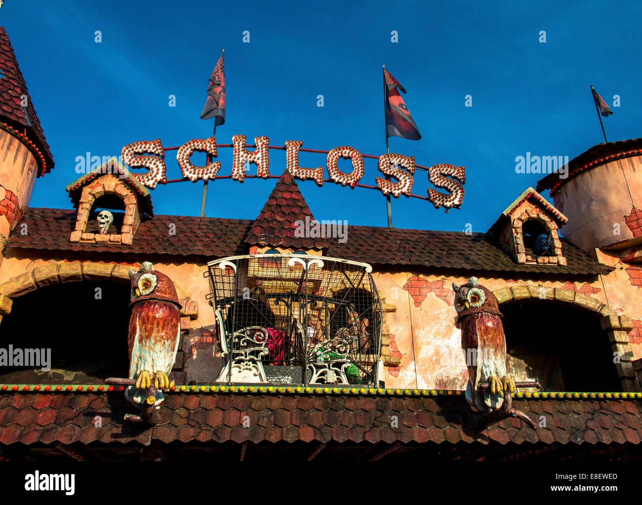 Geisterschloss, haunted castle, Oktoberfest, Theresienwiese, Munich, Upper Bavaria, Bavaria, Germany - Stock Image