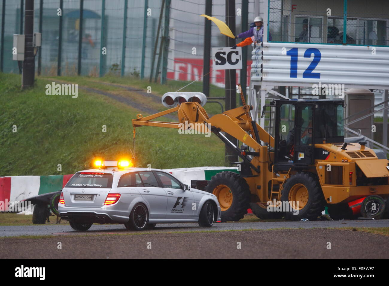accident of jules bianchi in suzuka the car slided of the track on