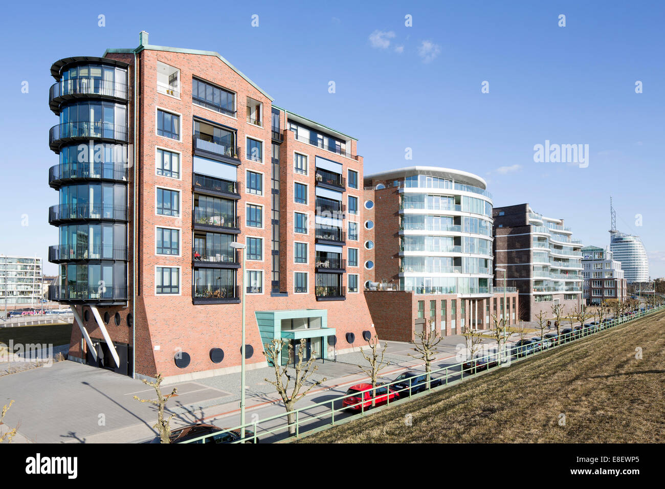Seaside Vision, Weser Loft and Weser Wave residential buildings, Quartier Lloyd Marina, development area at Neuen - Stock Image