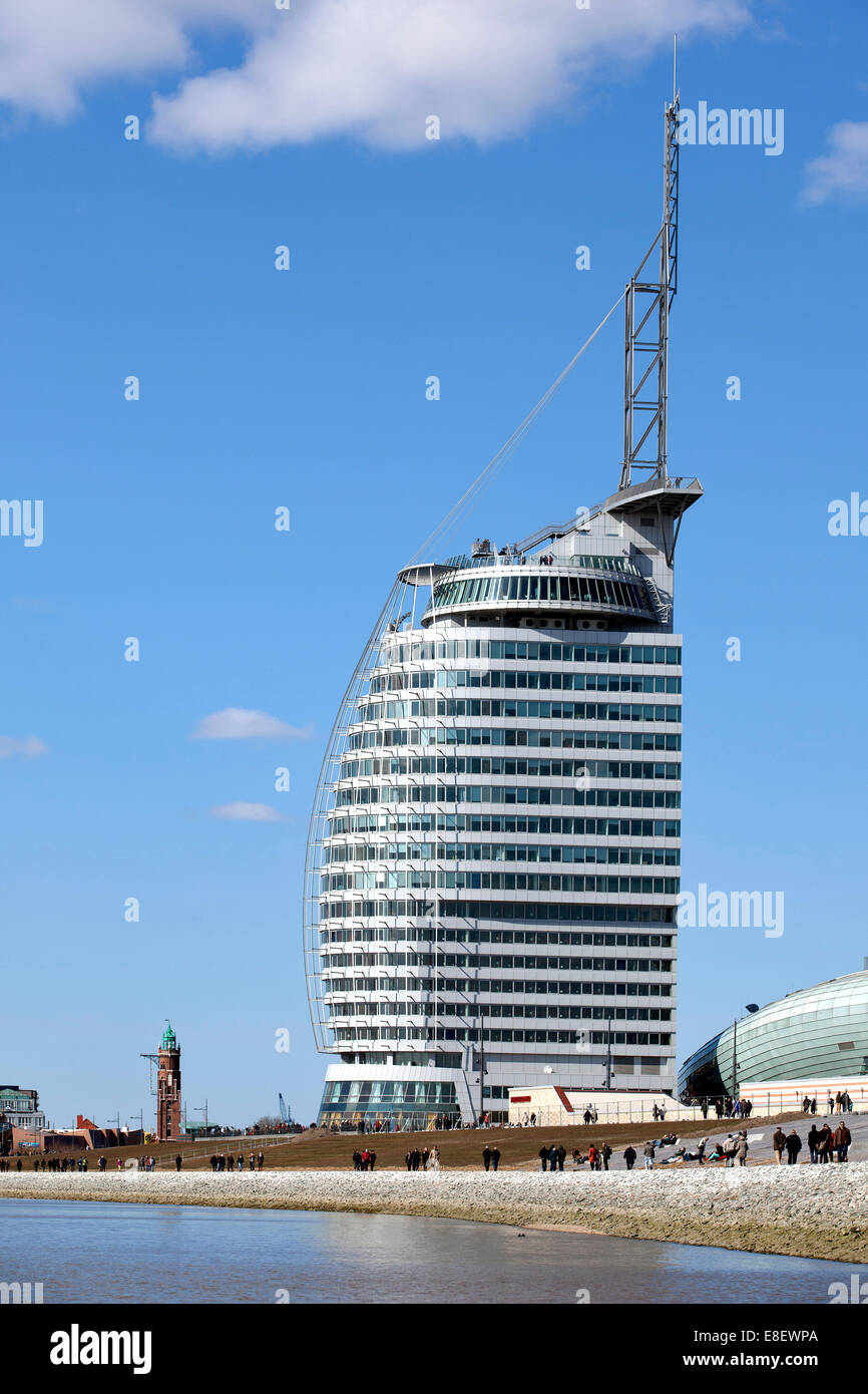 Hotel Atlantic Sail City, development area of Havenwelten, Alter Hafen, Bremerhaven, Bremen, Germany - Stock Image