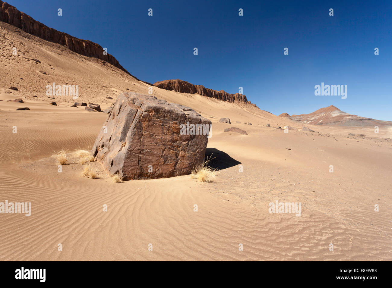 Monolith in the sand desert, Richtersveld National Park, Southern Namibia, Namibia - Stock Image