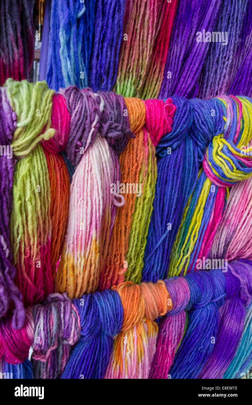 Colourful wool, Chile - Stock Image