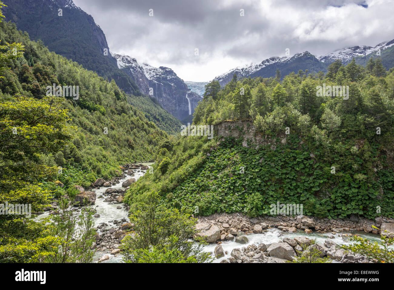 Glacial river in front of the Ventisquero Colgante, hanging glacier, Parc National Queulat, Puerto Puyuhuapi, Aysén, - Stock Image
