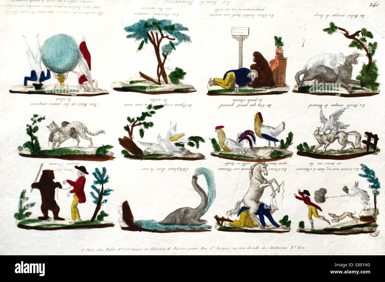 The Upside Down World a Surreal or Satirical c18/19th Engraving of a Topsy-Turvy World - Stock Image