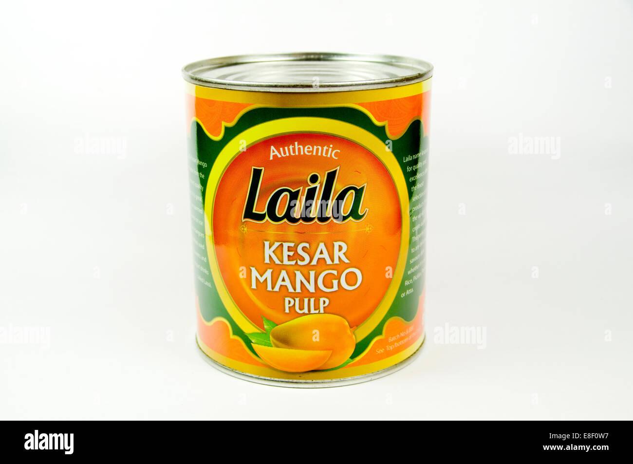 tin of Mango pulp - Stock Image