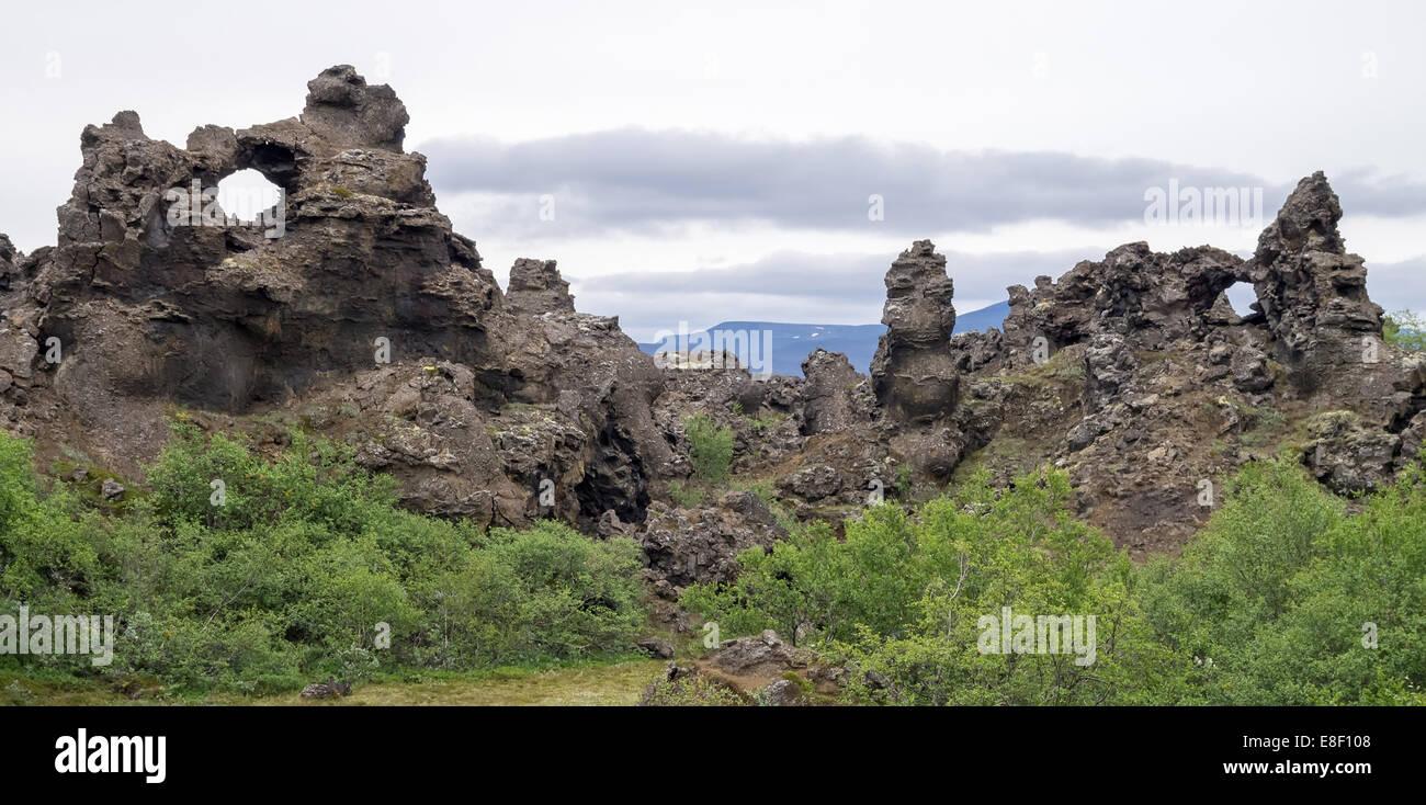 Dimmuborgir lava fields - Stock Image