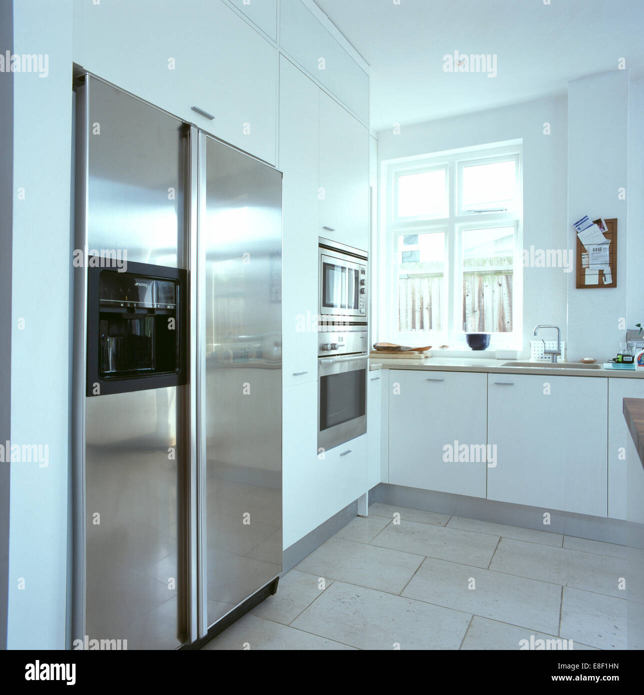 Modern Kitchen Refrigerators: Large American-style Stainless-steel Refrigerator In Modern White Stock Photo: 74089281