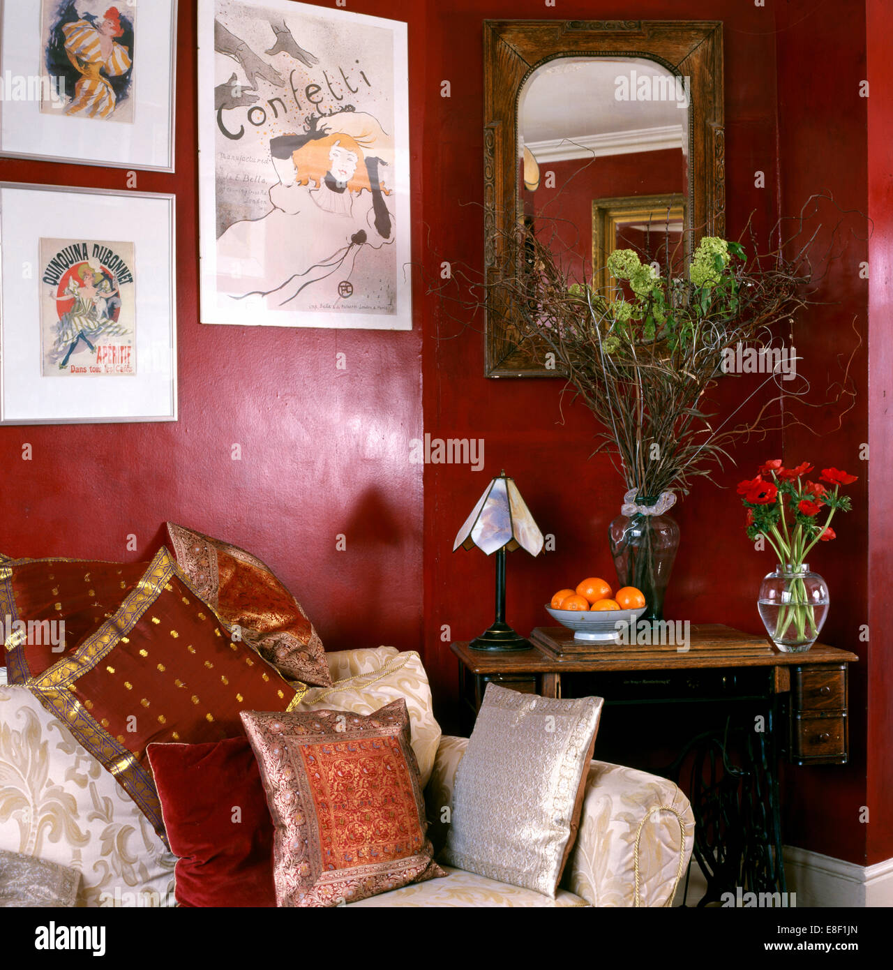 Pictures Above Sofa With Indian Silk Cushions A In Corner Of Living Stock Photo Alamy