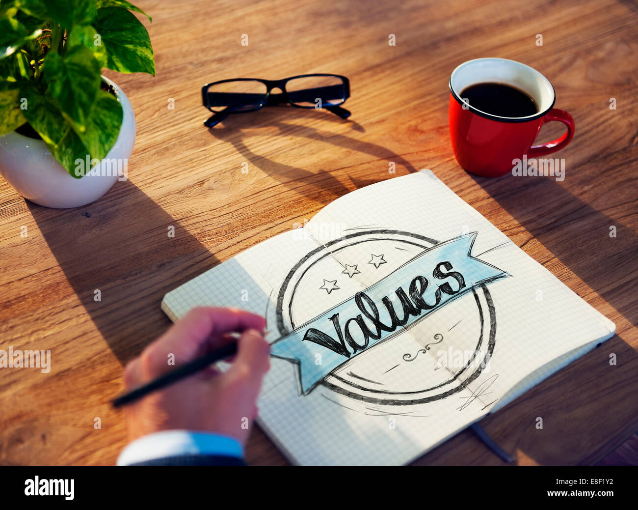 Businessman Brainstorming About Values - Stock Image