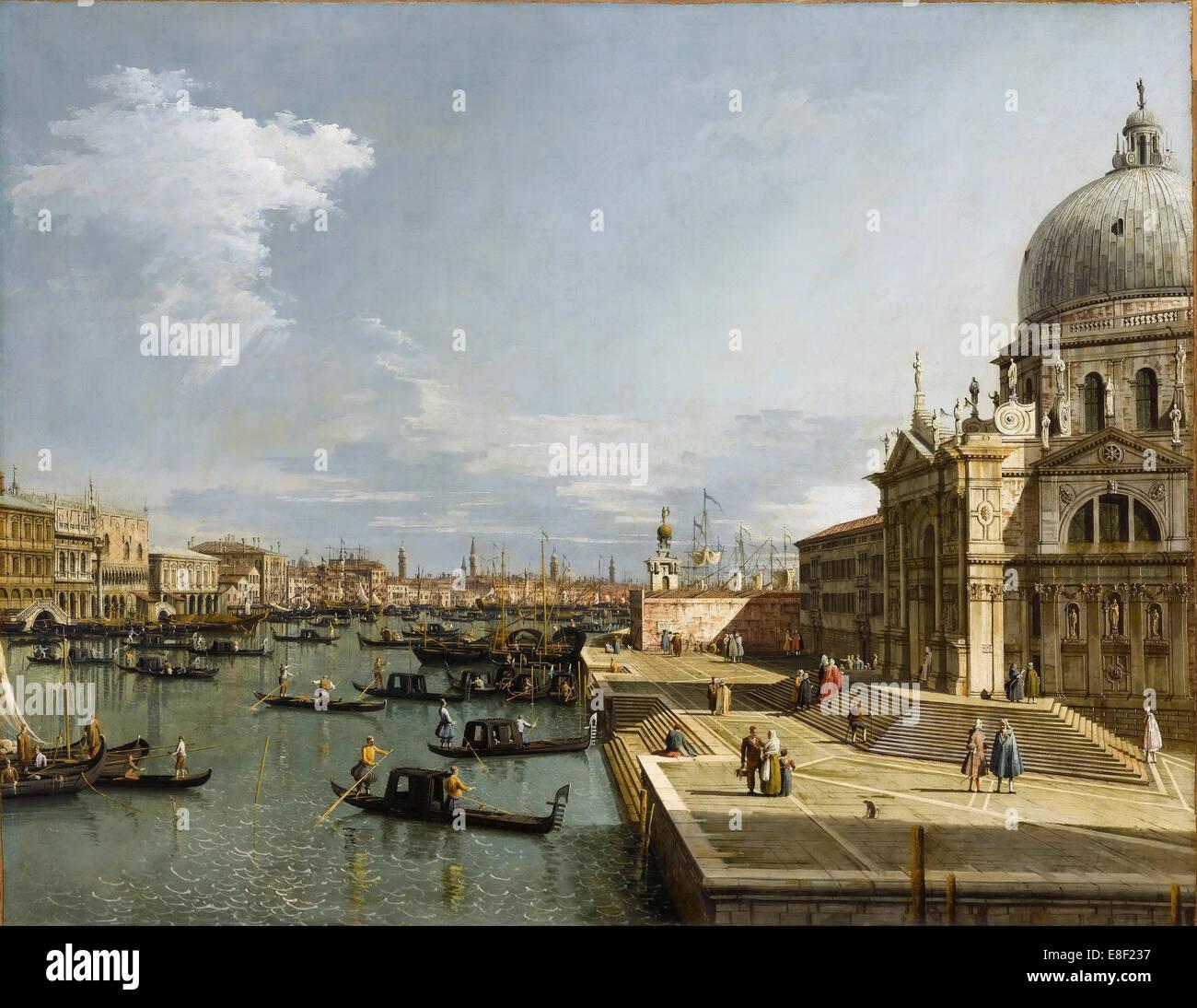 The Entrance to the Grand Canal and the Church Santa Maria della Salute, Venice. Artist: Canaletto (1697-1768) - Stock Image