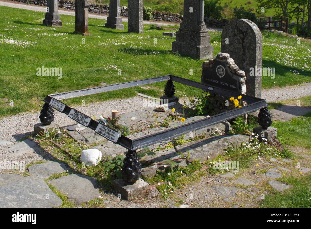 Rob Roy's grave at Balquhidder Parish Church, Stirling, Scotland. Stock Photo