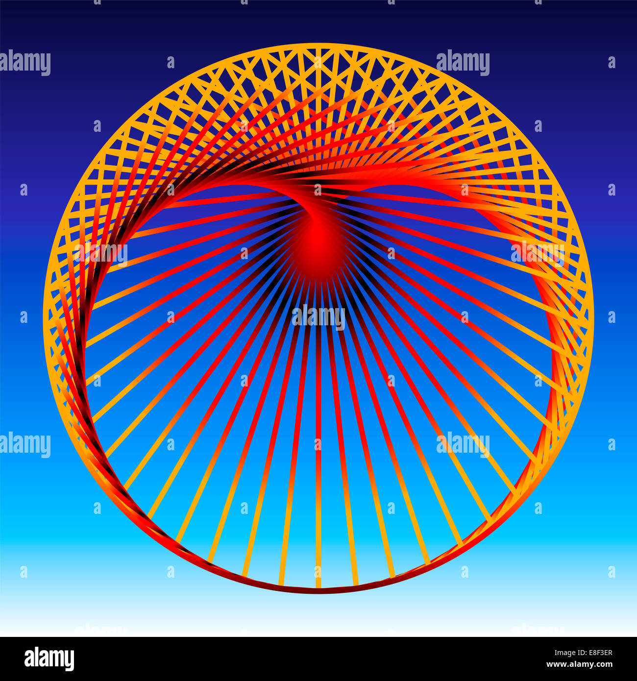 Cardioid, a mathematical plane curve, composed of orange to red gradient lines, which generate a heart shaped geometric - Stock Image