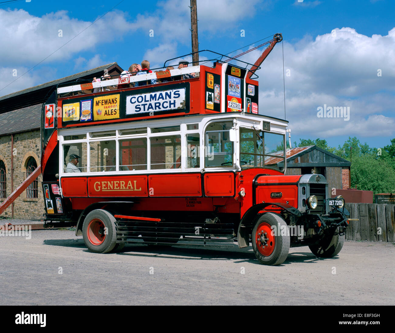 Open top bus, Beamish Museum, Stanley, County Durham. - Stock Image