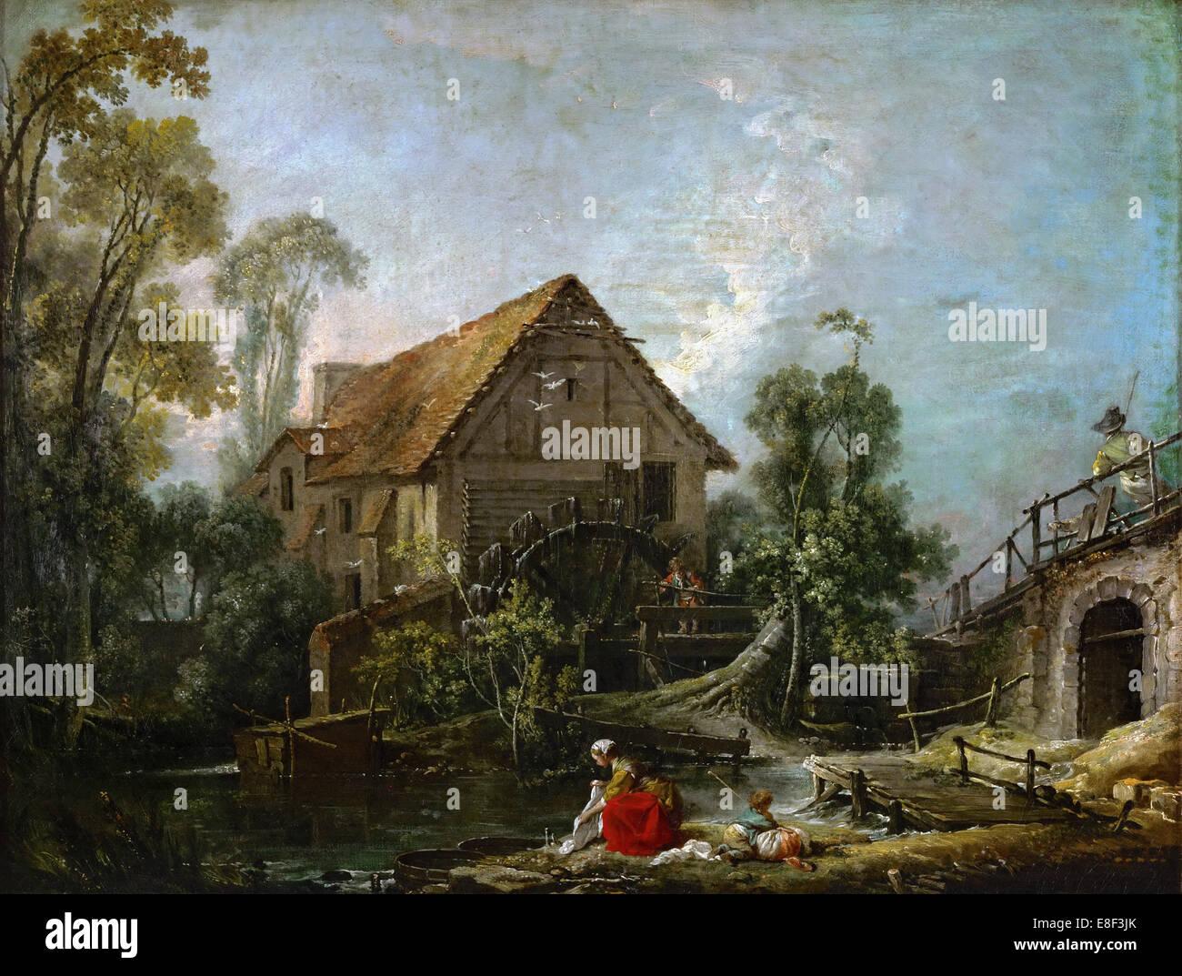 The Mill. Artist: Boucher, François (1703-1770) - Stock Image