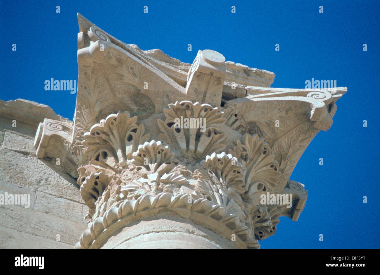 Acanthus capital, Temple of the Sun, Hatra (Al-Hadr), Iraq, 1977. - Stock Image