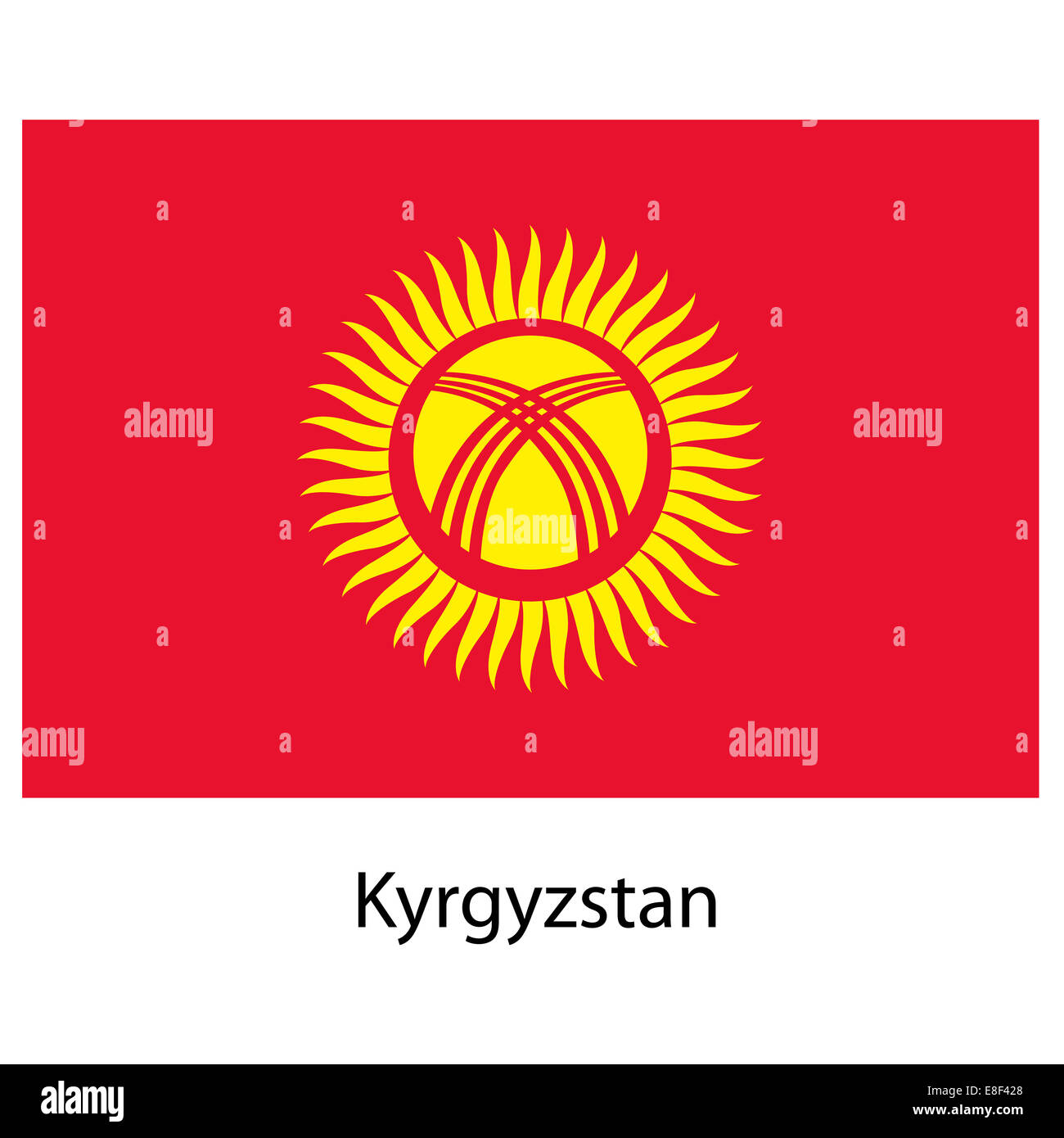 Flag  of the country  kyrgystan. Vector illustration. - Stock Image