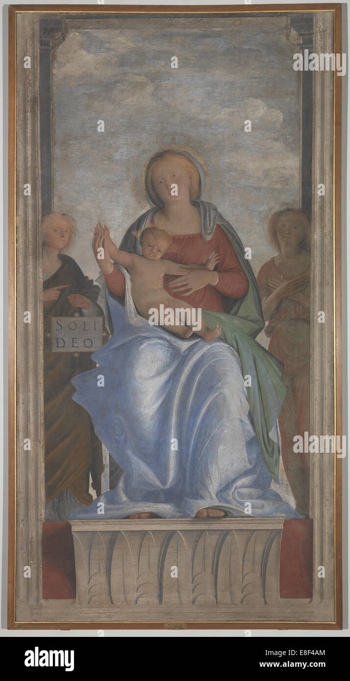 The Virgin and Child with Two Angels. Artist: Bramantino (1465-1530) - Stock Image