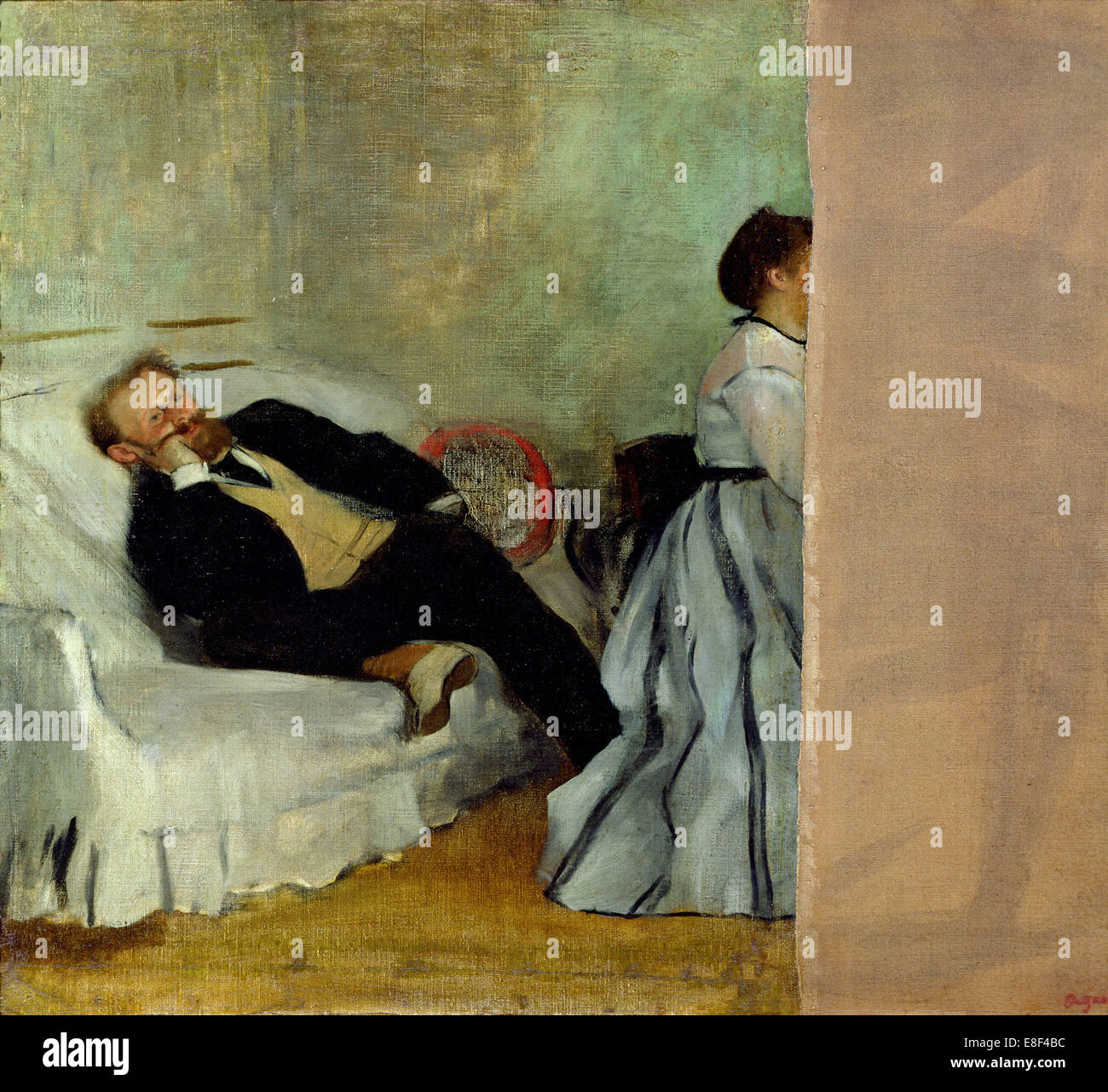 The painter Edouard Manet with his wife Suzanne. Artist: Degas, Edgar (1834-1917) - Stock Image