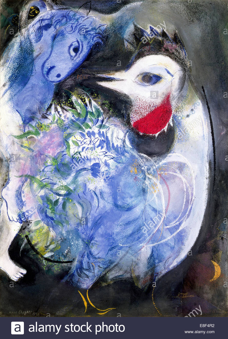 Feathers In Bloom. Artist: Chagall, Marc (1887-1985) - Stock Image