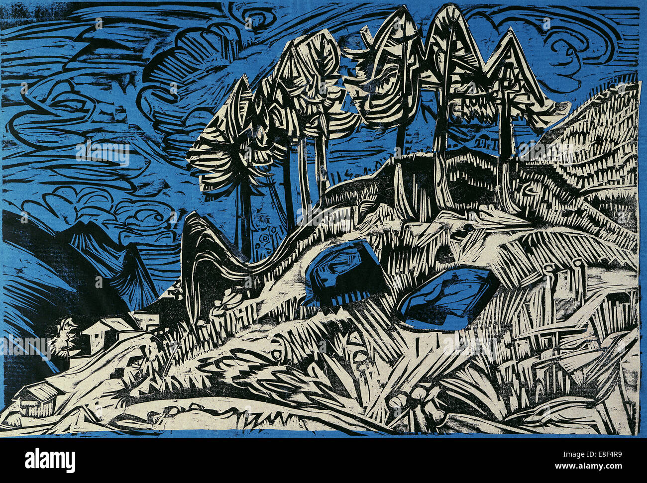 Trees on a Mountain Slope. Artist: Kirchner, Ernst Ludwig (1880-1938) - Stock Image