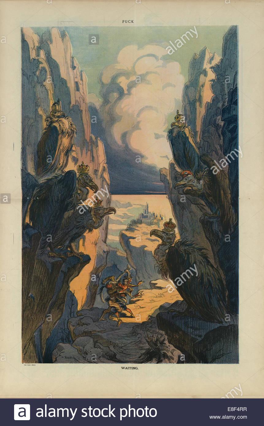 Waiting  (cartoon from the Puck magazine). Artist: Keppler, Udo J. (1872-1956) - Stock Image