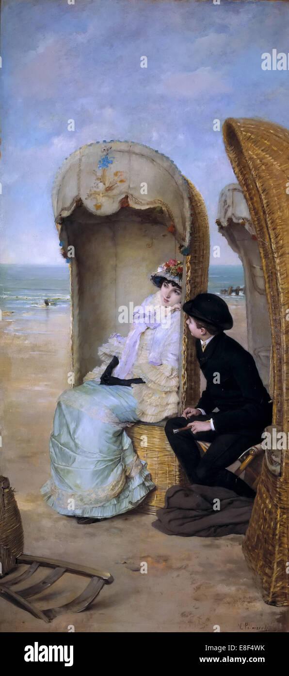 The Confession. Artist: Palmaroli y Gónzalez, Vicente (1834-1896) - Stock Image