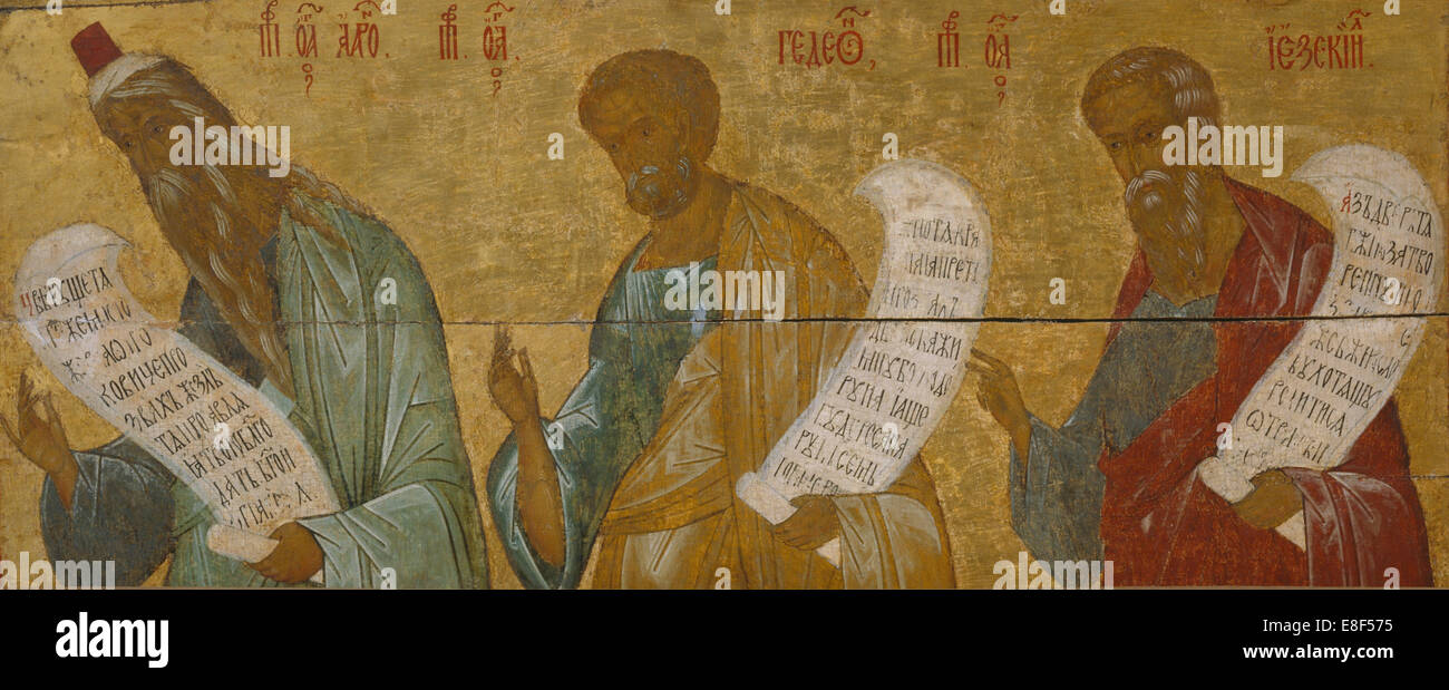 The Prophets Aaron, Gideon and Ezekiel. Artist: Russian icon - Stock Image