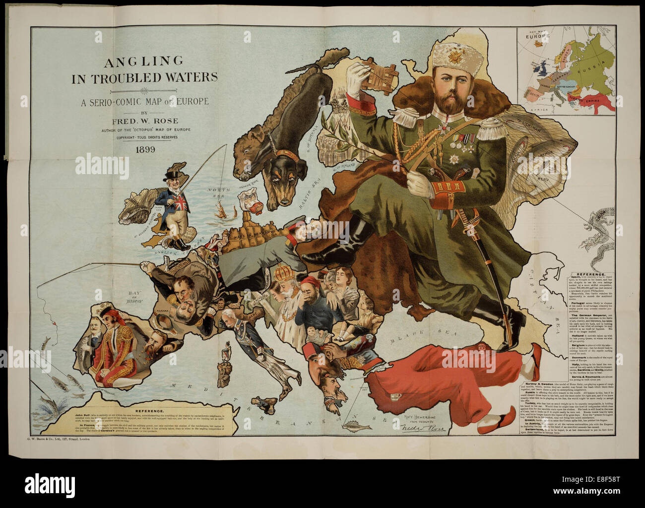 Angling in Troubled Waters. A Serio-Comic Map of Europe. Artist: Fred W. Rose (active End of 19th cen.) - Stock Image