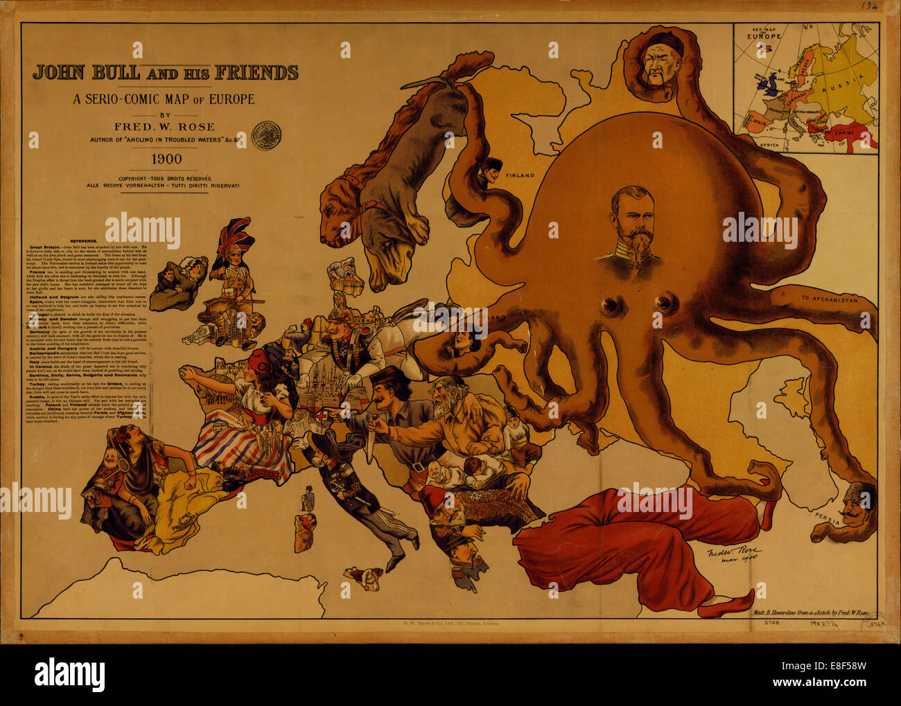 John Bull and his Friends. A Serio-Comic Map of Europe. Artist: Fred W. Rose (active End of 19th cen.) - Stock Image