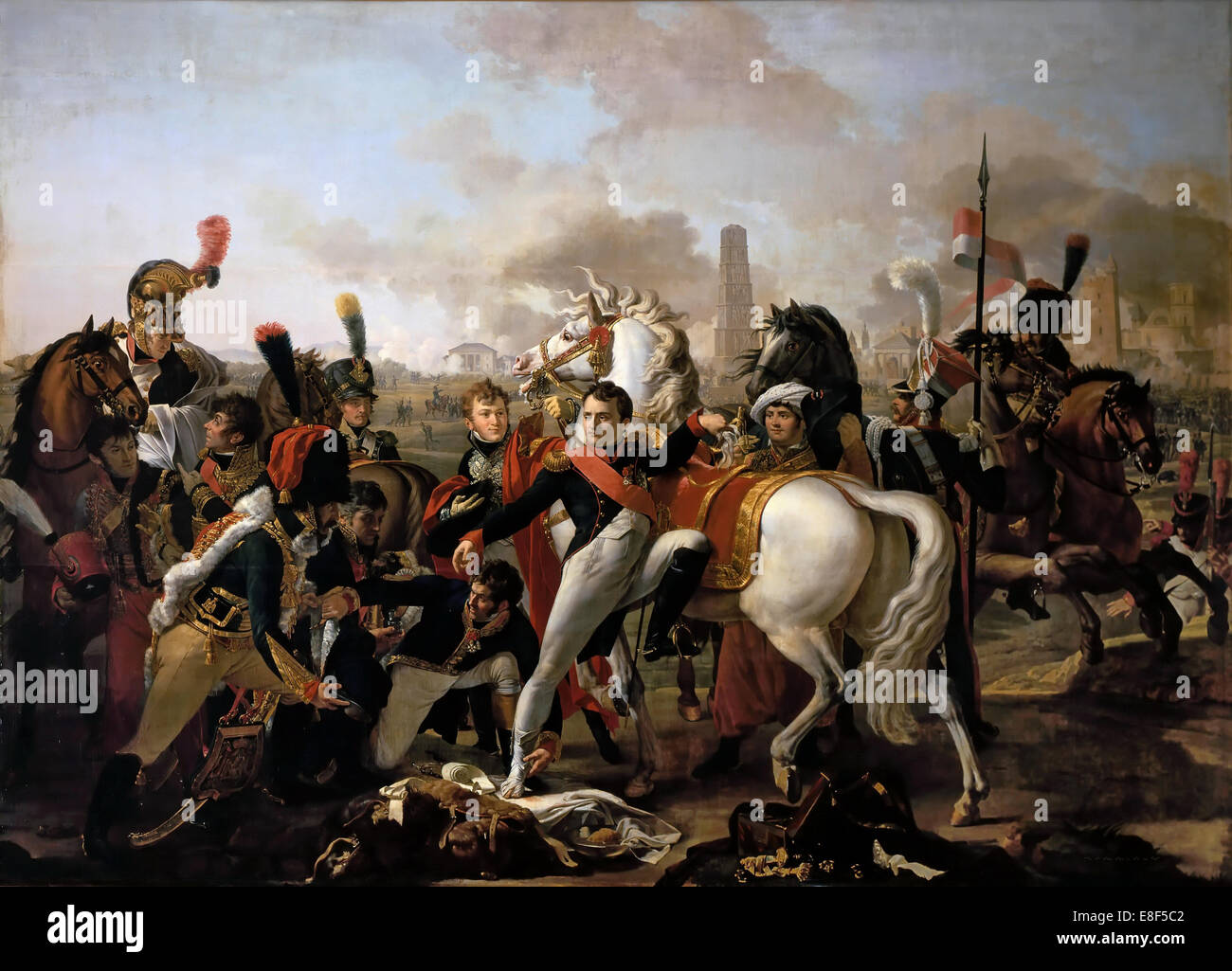 Napoleon wounded before Ratisbon, April 23, 1809. Artist: Gautherot, Claude (1769-1825) - Stock Image
