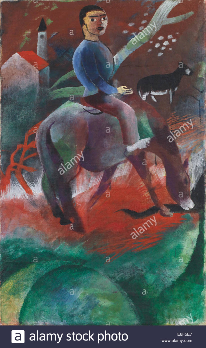 Boy riding a horse. Artist: Campendonk, Heinrich (1889-1957) - Stock Image