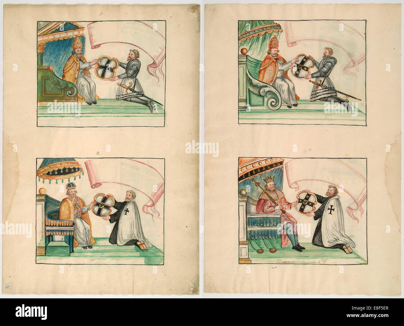 Popes and Emperor give privileges to the Teutonic Knights. Artist: Anonymous - Stock Image