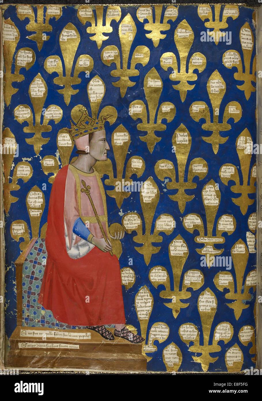 Robert of Anjou (From Regia Carmina by Convenevole da Prato). Artist: Pacino di Buonaguida (active 1302-1343) - Stock Image