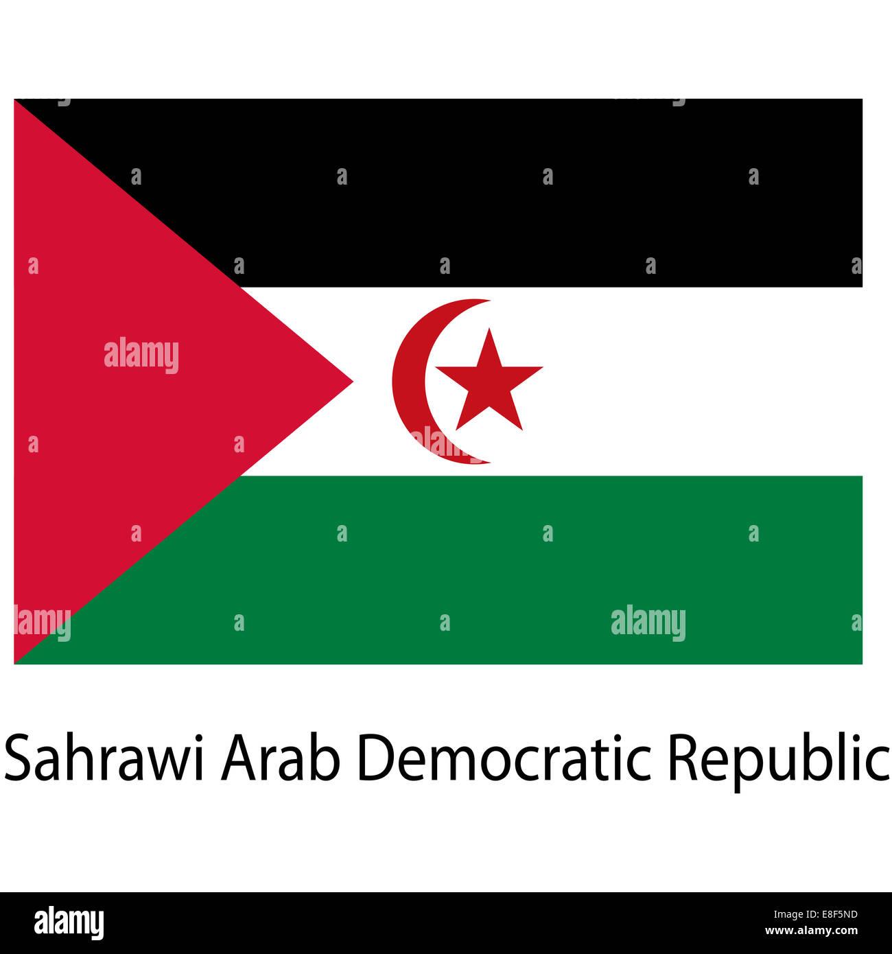 Flag  of the country  sahrawi arab democratic republic. Vector i - Stock Image