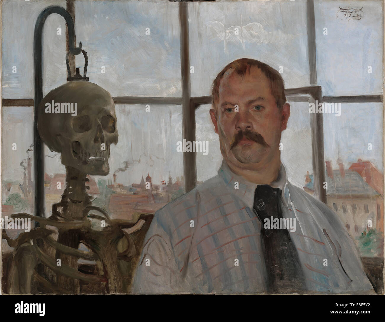 Selfportrait with skeleton. Artist: Corinth, Lovis (1858-1925) - Stock Image