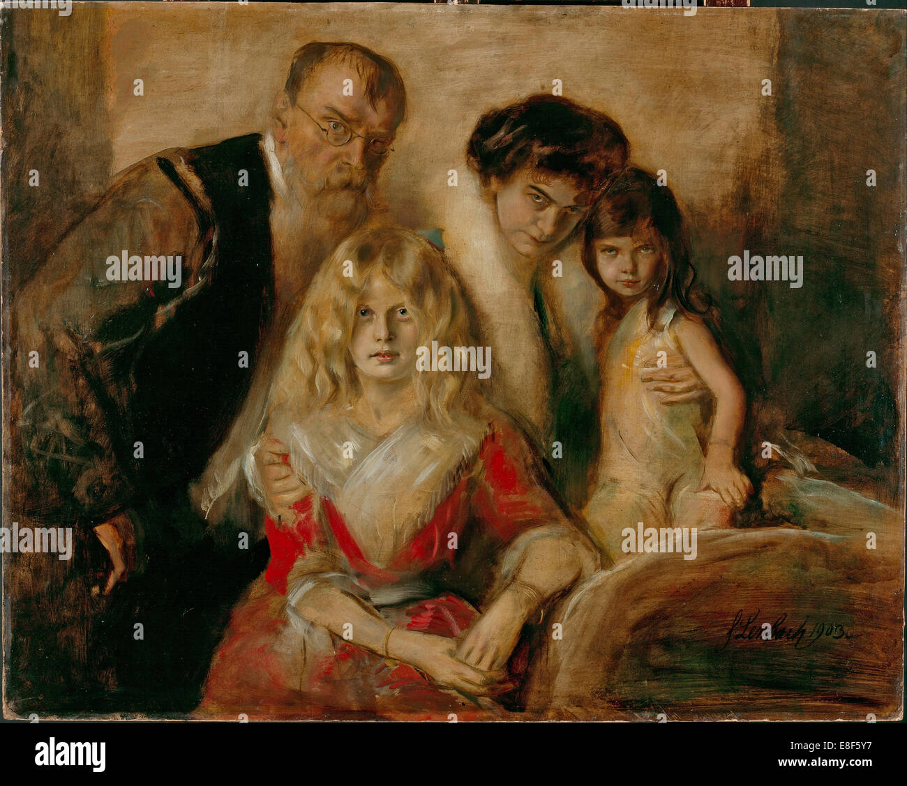 The Artist with his Wife and Children. Artist: Lenbach, Franz, von (1836-1904) - Stock Image