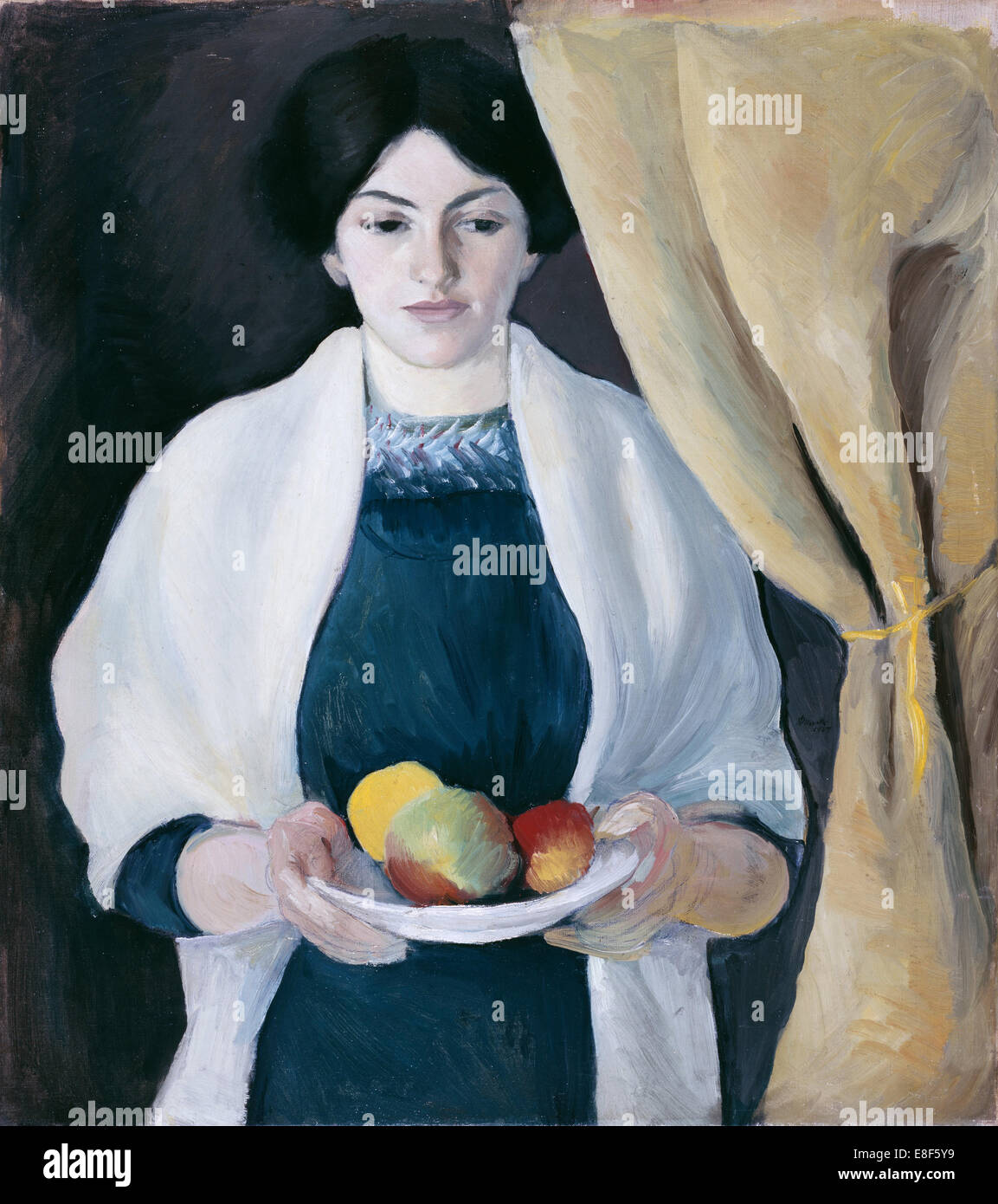 Portrait with Apples. Artist: Macke, August (1887-1914) - Stock Image