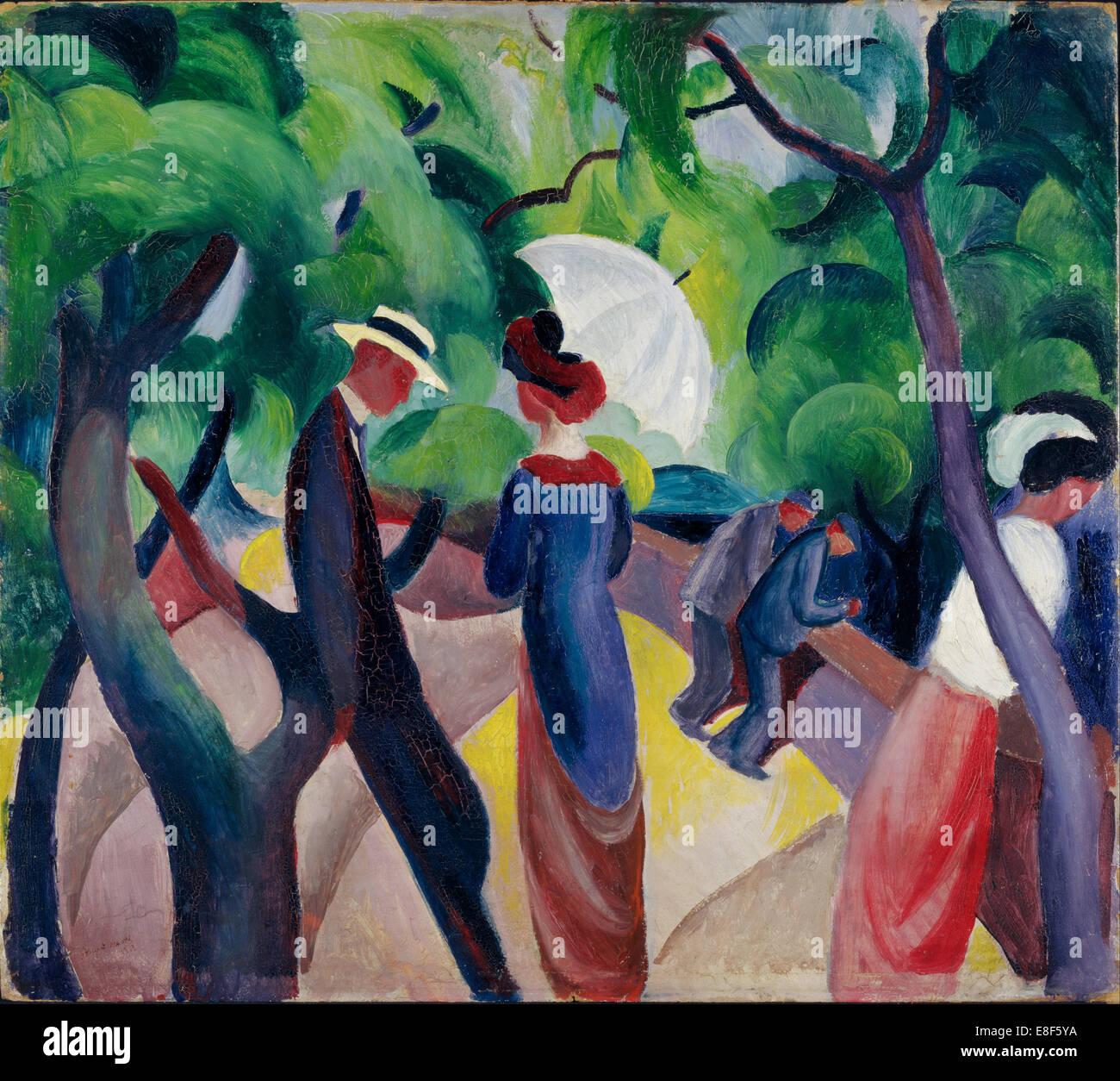 Promenade. Artist: Macke, August (1887-1914) - Stock Image
