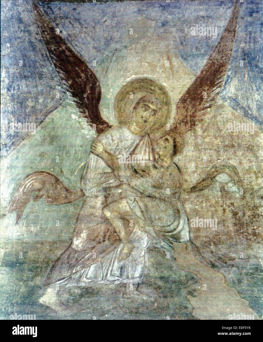 Jacob and the Angel. Artist: Ancient Russian frescos - Stock Image