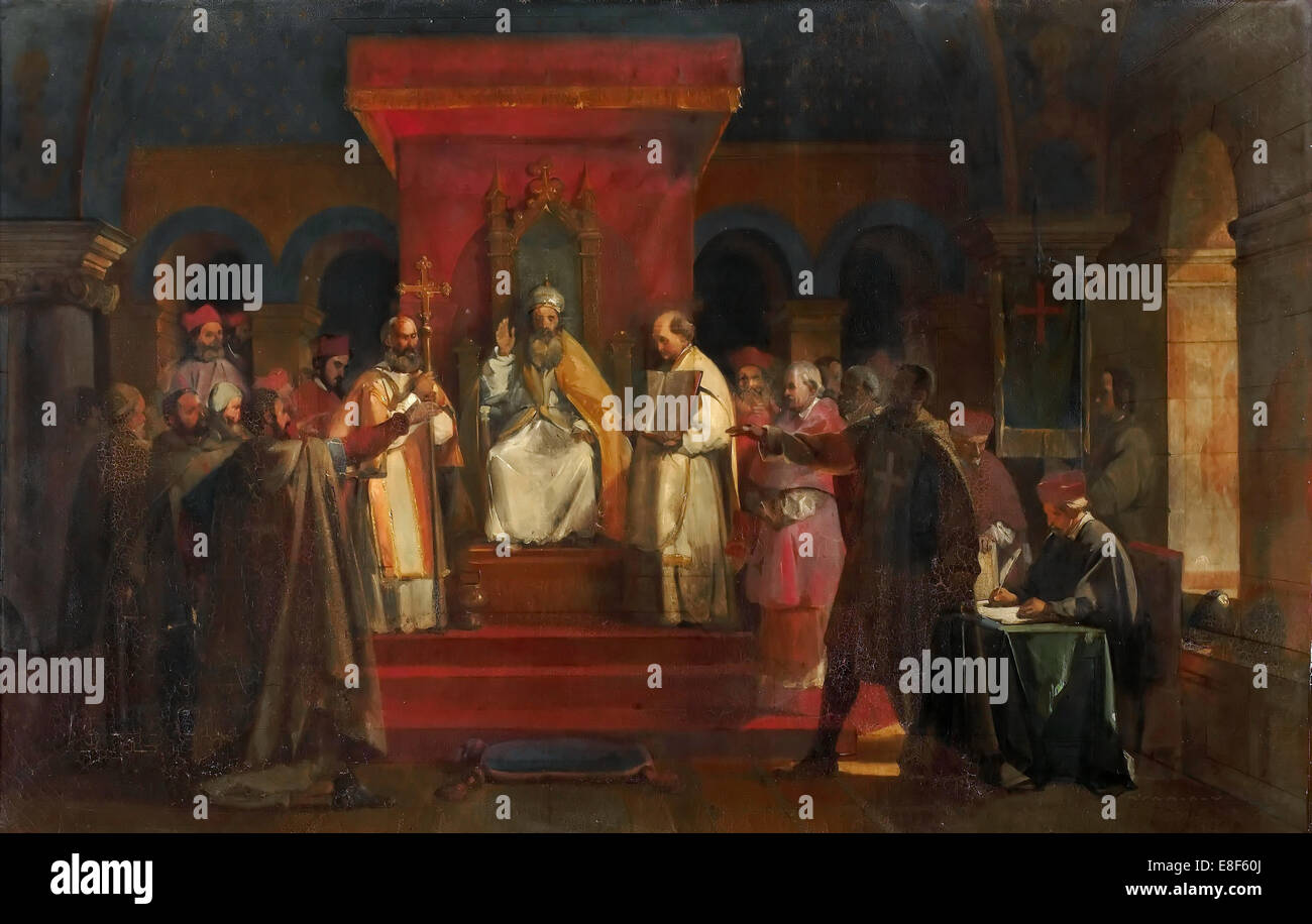 Pope Honorius II granting official recognition to the Knights Templar in 1128. Artist: Granet, François Marius - Stock Image
