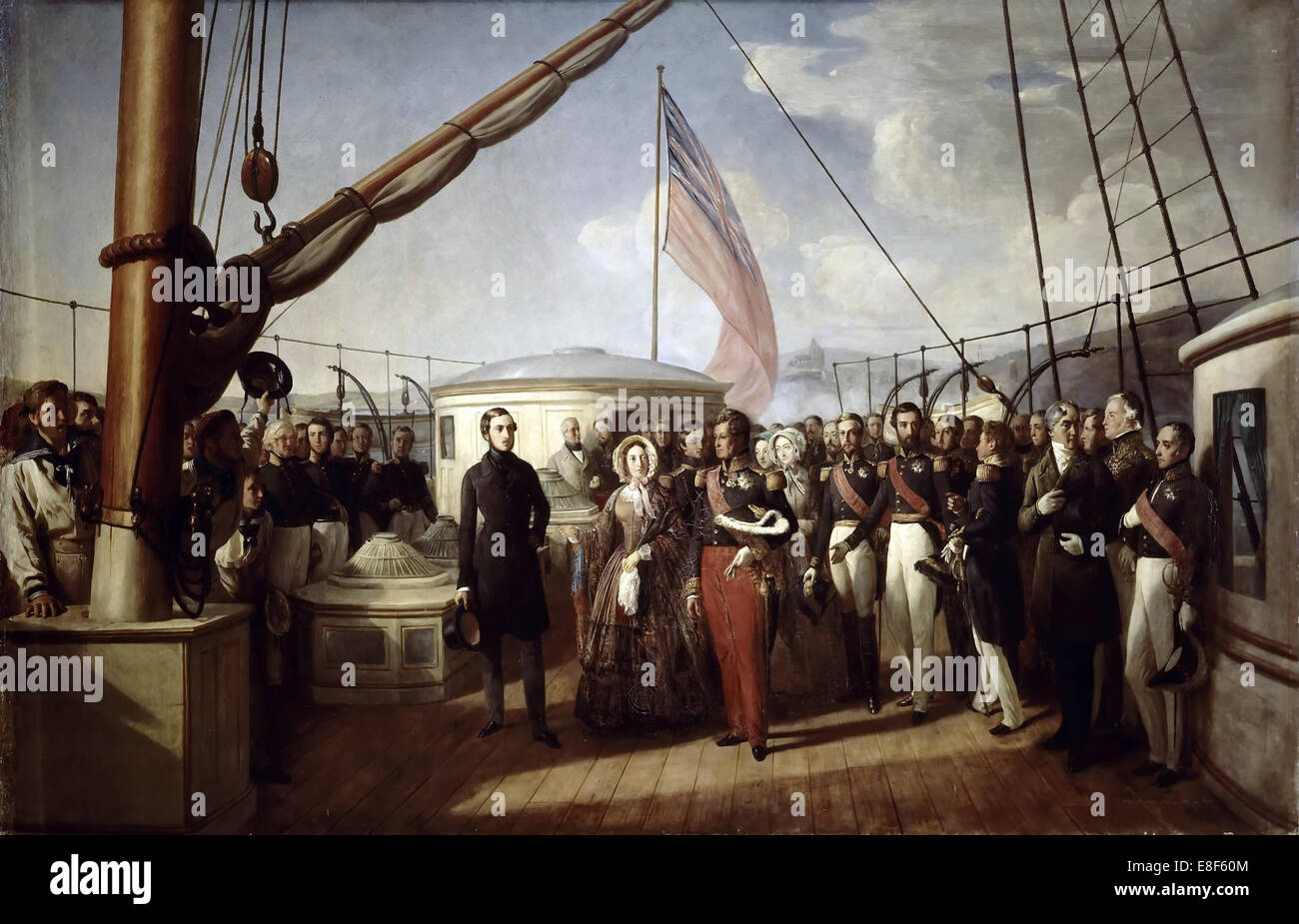 Queen Victoria recieved the King Louis Philippe I on board the Royal Yacht, 2 September 1843. Artist: Biard, François - Stock Image
