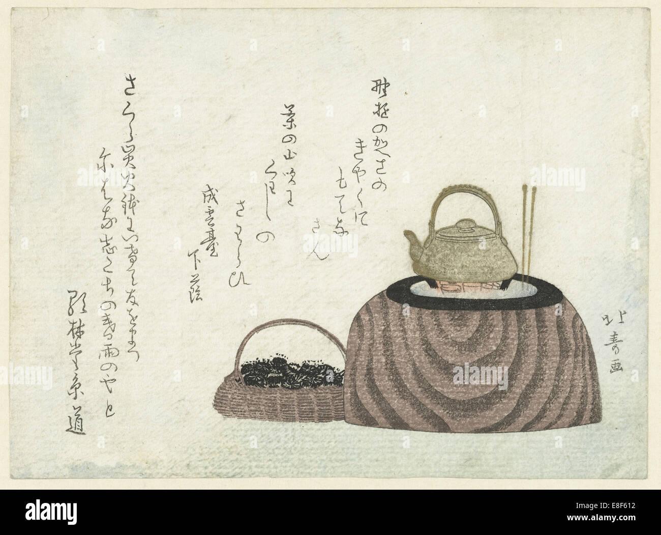 Tea kettle on the stove. Artist: Hokuju, Shotei (1763-1824) - Stock Image