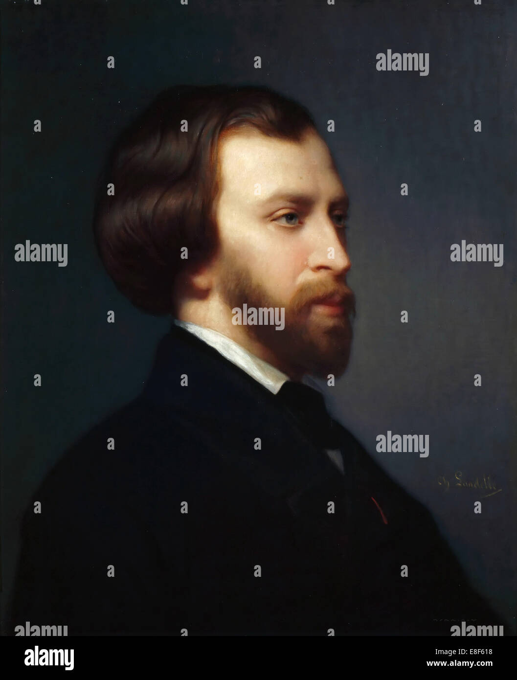 Portrait of Alfred de Musset (1810-1857). Artist: Landelle, Charles (1821-1908) - Stock Image
