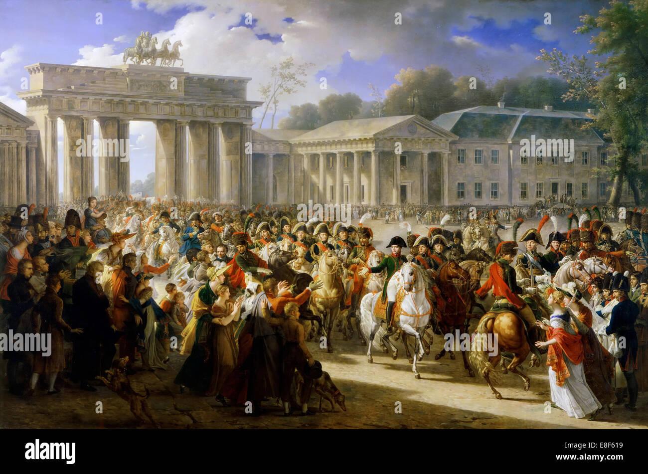 Entry of Napoleon into Berlin, 27 October 1806. Artist: Meynier, Charles (1768-1832) - Stock Image