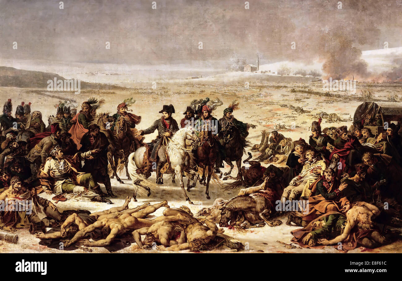 Napoleon on the Battlefield of Eylau, 9 February 1807. Artist: Meynier, Charles (1768-1832) Stock Photo