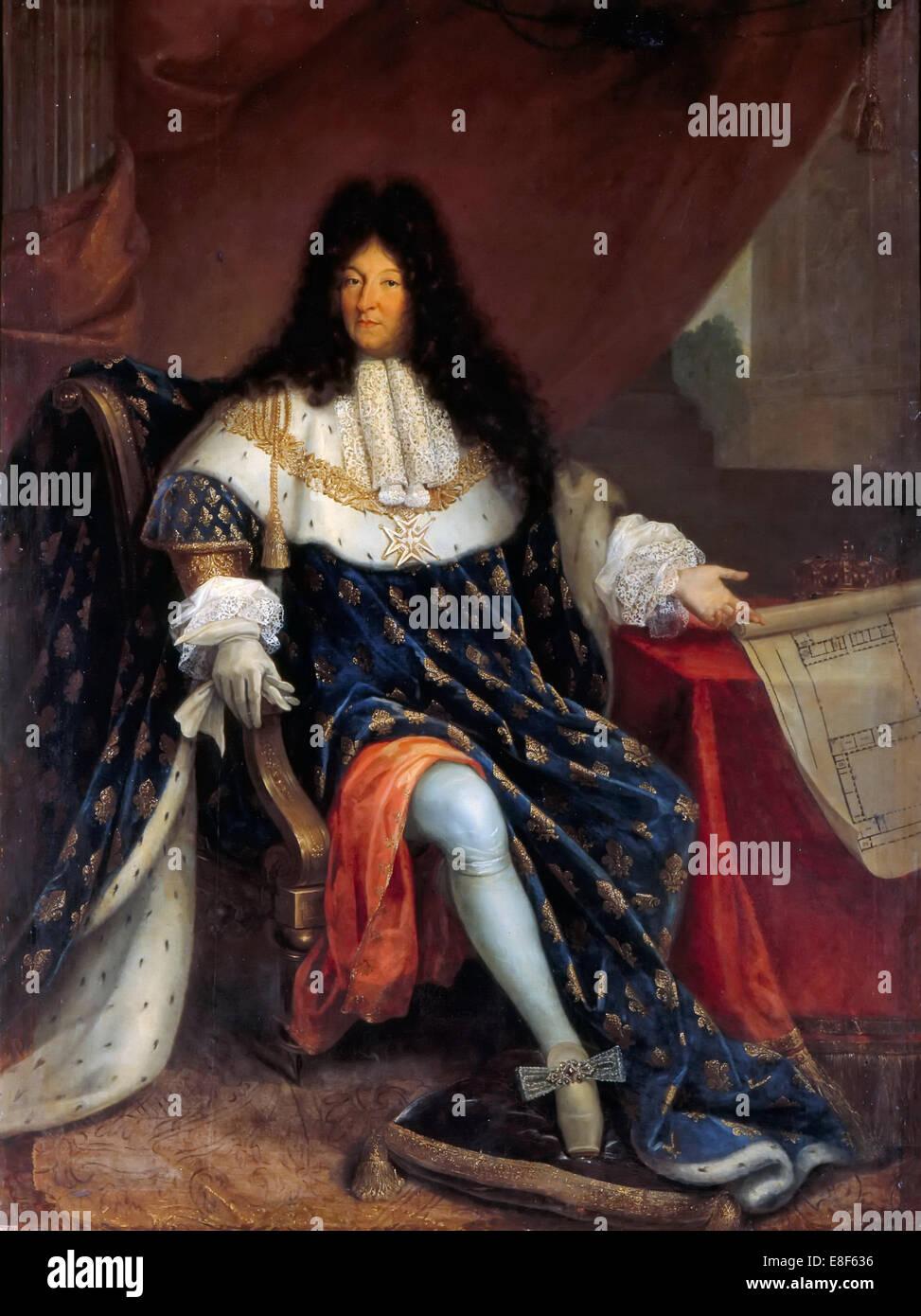 Portrait of Louis XIV Holding the Plan for the Maison Royale de Saint-Louis at Saint-Cyr. Artist: Jollain, Nicolas - Stock Image