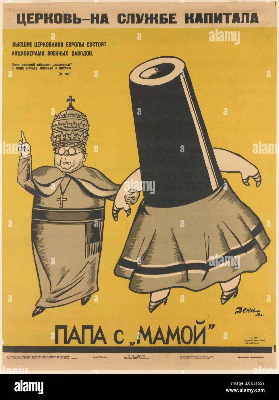 Church is working for the Capitalists. Artist: Deni (Denisov), Viktor Nikolaevich (1893-1946) - Stock Image